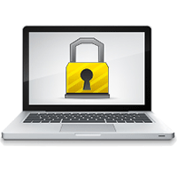 laptop with an onscreen security lock
